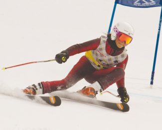 Courtesy of Holden Sapp Haley Louis, of the Kirkwood Ski Education Foundation, rips down Black Fox during the Far West Race Series at Mt. Shasta Ski Resort last weekend. Louis took first on Saturday and second on Sunday.