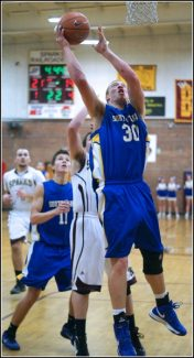 Courtesy of Nick LeeCale Backinger goes for the hoop at Sparks on Friday. Backinger posted 24 points.