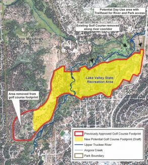 Provided to the TribuneA map shows changes to a proposal to reconfigure Lake Tahoe Golf Course as part of an effort to restore the Upper Truckee River.