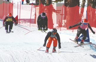 Courtesy of Tony Gooding Left to right: Russell Hicks, Dylan Gooding, Noah Williams, Duncan Reid zip through the final Far West U14 skier cross race at Squaw Valley on Jan. 13.