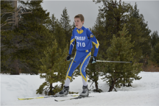 Courtesy of Mark Hoefer South Tahoe High School's Chas Carlson skates to the finish at Tahoe Donner on Jan. 25.