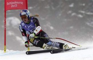 United States'LindseyVonn speeds down the course during the women's super-G cours, at the Alpine skiing world championships in Schladming, Austria earlier this year. Vonn's recent knee injury could set her up for osteoarthritis later in life according to recent findings. AP Photo / Luca Bruno