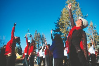 Axie Navas / Tahoe Daily TribuneAbout 70 people gathered at the base of Heavenly Mountain Resort's gondola Thursday for a One Billion Rising flash mob.