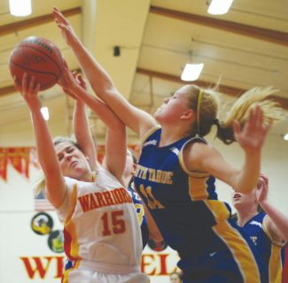 Becky Regan / Tahoe Daily Tribune South Tahoe's Riley Chapman puts up a block against Whittell's Kenya Maltase at Whittell High School on Saturday. Chapman had 11 rebounds on the night.