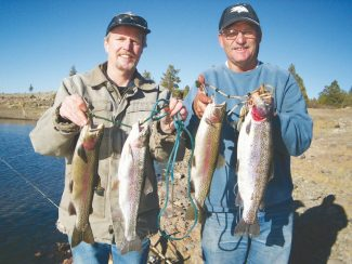 "Courtesy photo""Mac The Naw"" columnist Doug Busey, left, fishing with friend Dana Judd of Carson City, Nev., at Indian Creek Sunday. They caught 2-to 3.5-pound trout."