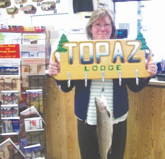 Courtesy of Topaz Lodge  Joyce Oberman of Silver Springs took second place in week nine of the Topaz Derby. She snagged a 2.8 pound and 20 inch rainbow. Topaz Lodge General Store staff reported that most of the anglers coming in the store are catching limit. Not a lot of two-pounders, but still plenty of tags left out there.
