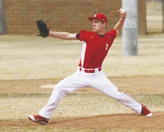 Boyd Dangtongdee / Special to the TribuneWhittell's Cody Gibson pitches at Lampe Park during the Warriors' first scrimmage. Gibson retired seven batters in four innings Friday as Whittell faced Incline.