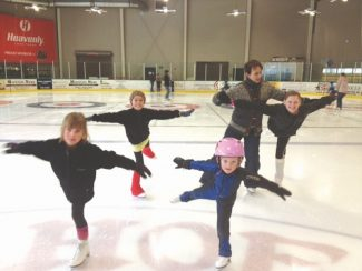 Courtesy of Diedre Faegre The South Tahoe learn to skate program has almost tripled in size. Front, left to right: Grace Zanetti and Autumn Ellingford. Back, left to right: Chloe Fiordalisi, coach Garnet and Kristen Oelson.