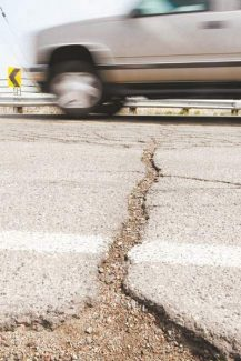 Shannon Litz / R-C file photoThis 2011 crack in Waterloo Lane between Centerville and Highway 88 hasn't become smaller over the past two years.