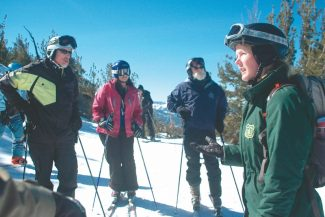Axie Navas / Tahoe Daily TribuneForest Service volunteer Emily Matthews explains how Lake Tahoe formed during a Ski with a Ranger tour on Heavenly Mountain Resort.