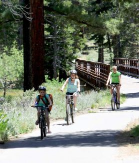 A group of bicyclists ride on a path near Hwy 89 on Tuesday.