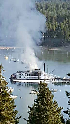 Zephyr Cove resident Karen Foster took this photo of the smoke on the Tahoe Queen from her home.