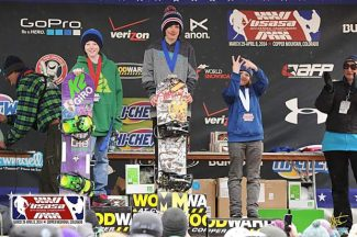 South Lake Tahoe's Tony Piccinnono (center) stands on the podium after winning gold in boardercross at the USASA Nationals in Copper Mountain, Colo.