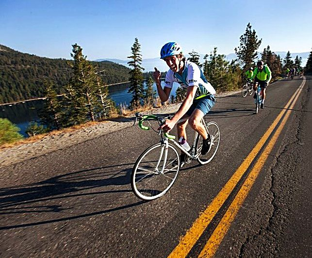 A rider has some fun while riding Tour de Tahoe's 72-mile loop Sunday.