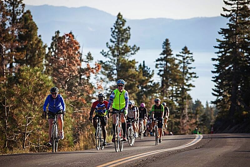 Cyclists pedal uphill during Bike the West's13th annual Tour de Tahoe on Sunday.