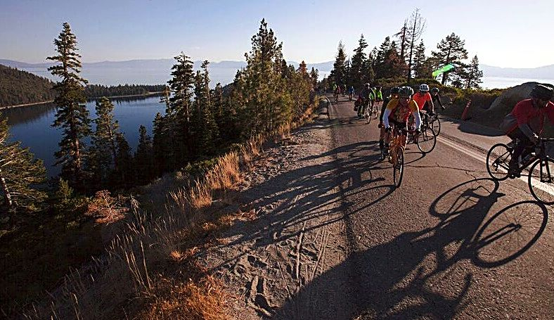 Riders take over Highway 89 during Tour de Tahoe on Sunday.