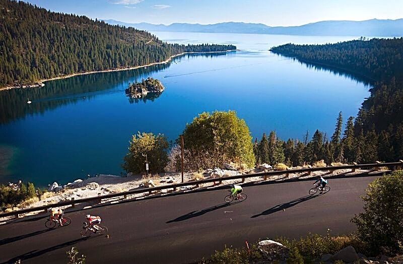 Cyclists ride in front of Emerald Bay during the 13th annual Tour de Tahoe – Bike Big Blue on Sunday, Sept. 11.