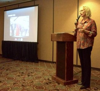 "TahoeChamber President Betty ""B"" Gorman speaks at the 2014 Tahoe Tourism Forum at Lake Tahoe Resort Hotel on Tuesday."