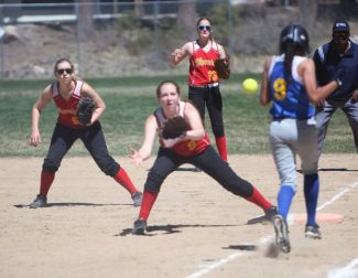 Whittell first baseman Jordyn Becker makes a play for an out during Saturday's 8-3 loss to Coleville.