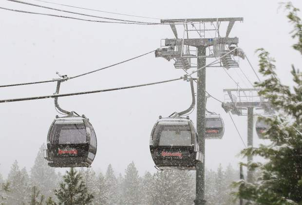 Gondolas stand guard in Heavenly Village ready for the upcoming season. Monday's early season storm has some optimistic for the potential for a solid winter.