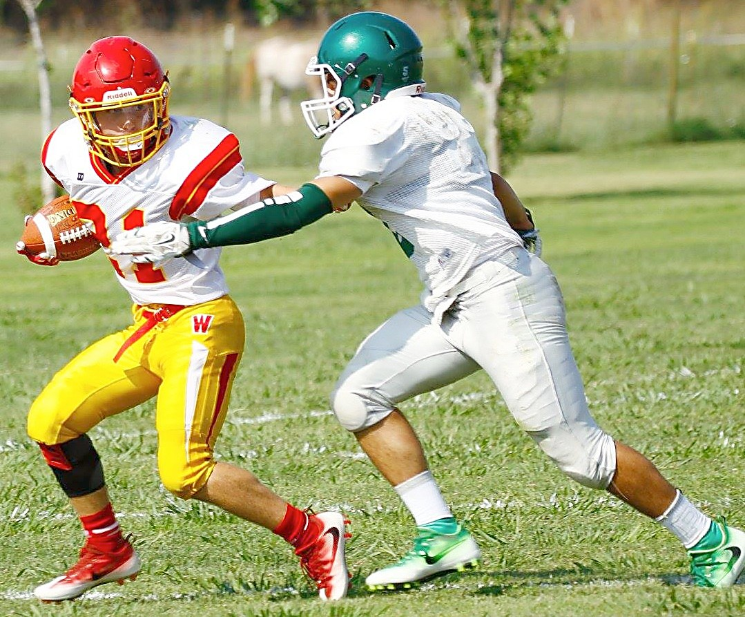 Whittell junior Corey Huber tries to elude a Princeton defender Saturday.