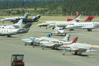 More than two dozen planes were parked at Lake Tahoe Airport Tuesday. July is typically the busiest time for the facility.