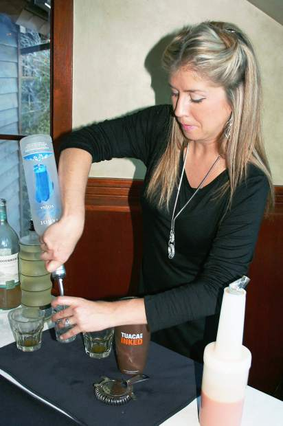 Andie McDaniel of Tahoe Beach Retreat created a Harvest Martini made with carrot juice, apple juice, and ginger.