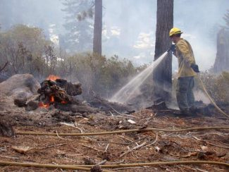 A Lake Tahoe Basin Management Unit firefighter wets down the perimeter of a burn pile at Luther Pass. Fire crews are taking extra precautions with their prescribed burns because of dry conditions in the Lake Tahoe Basin.