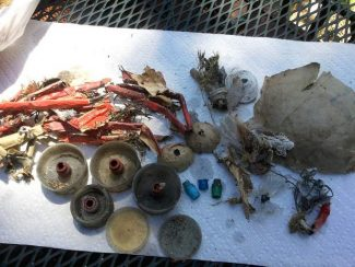 A photo shows a sample of the debris that Joan Truxler said she picked up from PineWild Beach after the Fourth of July last year.