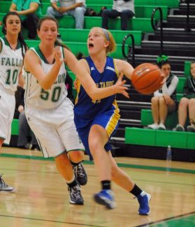 South Tahoe's Riley Chapman drives to the hoop during the Vikings' 39-32 win at Fallon on Saturday.