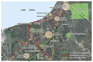 This diagram shows the northern half of the planned South Tahoe Greenway from Van Sickle Bi-State Park to Sierra Tract Neighborhood. California Tahoe Conservansy is building a 2,500-foot stretch of the greenway from Herbert Avenue to the edge of Bijou Meadow at Glenwood Way, and applying for state grants to extend the trail another two-plus miles to Ski Run Boulevard and Sierra Boulevard.