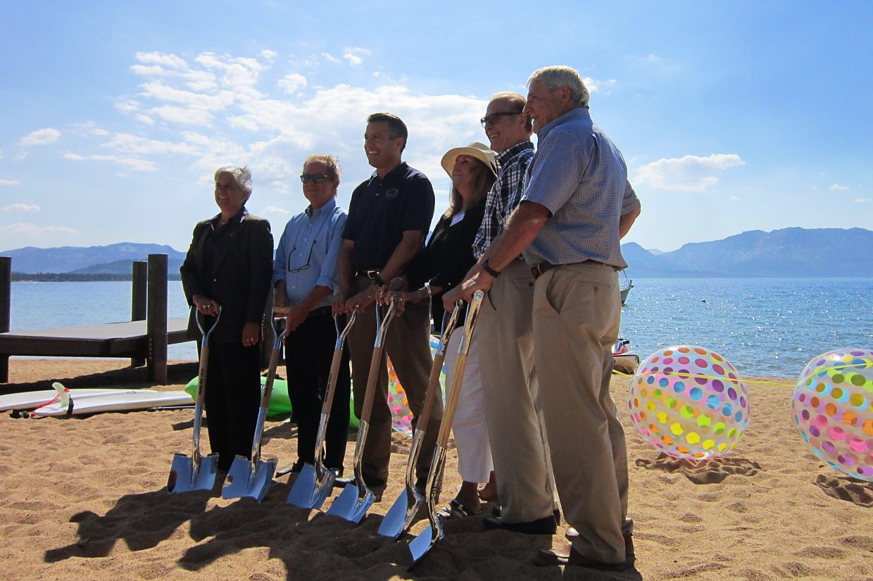 Tahoe Beach Club's groundbreaking featured Nevada Governor Brian Sandoval (center), Tahoe Regional Planning Agency's executive director Joanne Marchetta, Douglas County commissioner Nancy McDermid and others.