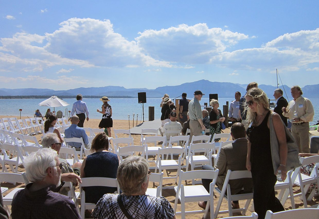More than 100 attendees gathered for Tahoe Beach Club's official groundbreaking ceremony Monday; the day boasted sunshine, an expansive blue sky and warm weather.