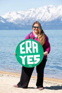 Helene Swanson, of Sausalito, Calif., is traveling the country in support of an Equal Rights Amendment to the U.S. Constitution. Swanson was in South Lake Tahoe and traveling to Carson City on Monday.