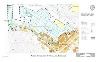 This map shows the Lukins Brothers Water Company service area outlined in black dashes. The company is under a system-wide boil order.