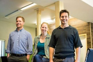 Jesse Walker, left, and Jamie and David Orr, right, are opening Tahoe Mountain Lab. Located on Ski Run Boulevard, it's South Lake Tahoe's first co-working space for businesses.