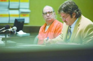 Joseph Nissensohn sits shackled in a South Lake Tahoe courtroom, Oct. 10, 2008.