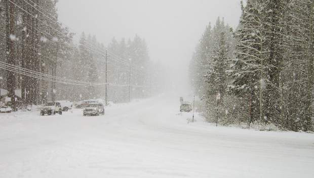 FILE PHOTO — South Lake Tahoe's Ski Run Boulevard was snow-covered as of Tuesday, Nov. 10.