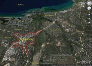 The boundary for the Tahoe Valley Area Plan includes about 335 acres centered around the intersection of U.S. Highway 50 and State Route 89 in South Lake Tahoe.