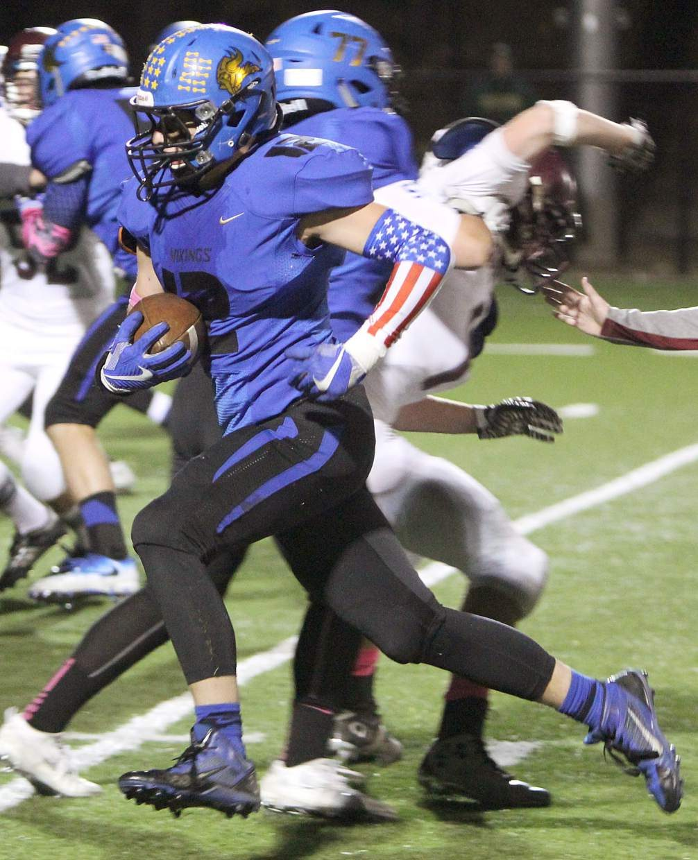 South Tahoe senior Max Schweitzer rumbles for yards during the Vikings' homecoming game against Dayton on Friday, Oct. 7, at Viking Stadium.