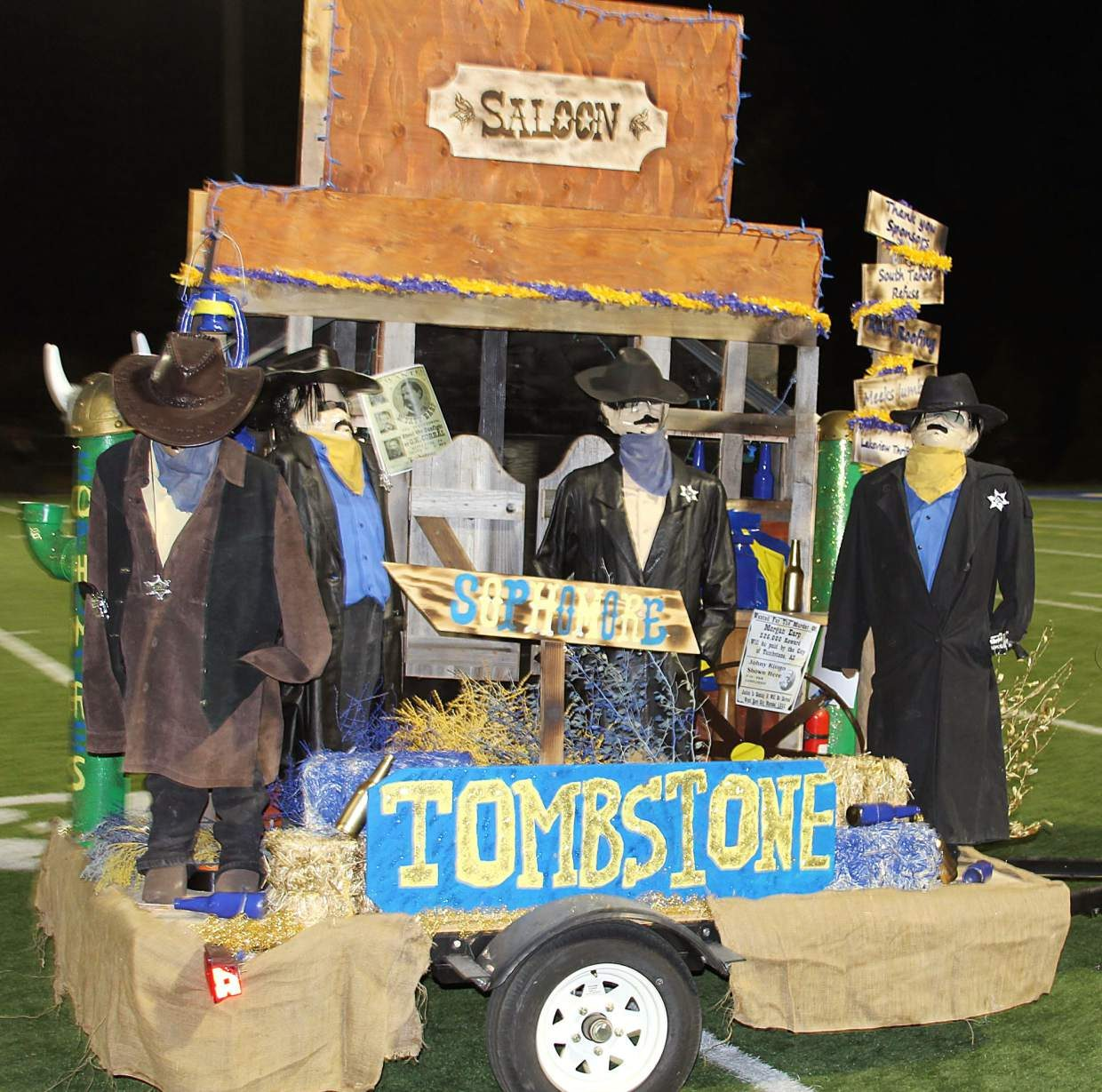 South Tahoe's sophomore class float rode a western theme to first place in the competition Friday.
