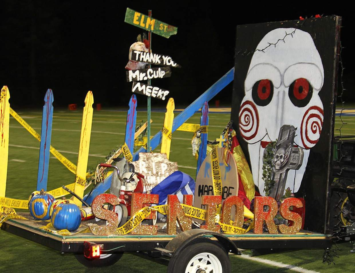 The senior class float picked horror as its genre as part of the movie-inspired homecoming theme.