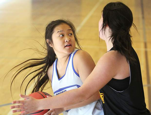 Vikings junior Meagan Perez eyes the basket against the Serpents on Saturday.