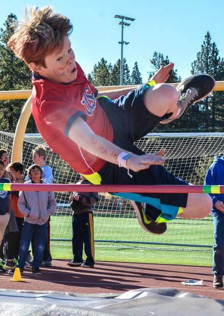 An STMS sixth-grader clears the bar during a high jump attempt Oct. 7.