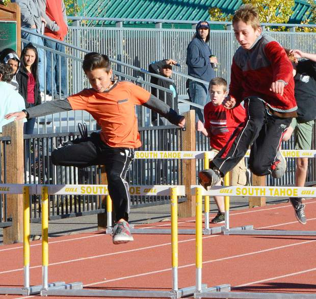 South Tahoe sixth graders take different routes over the hurdles during the school's Sixth Grade Olympics on Oct. 7.