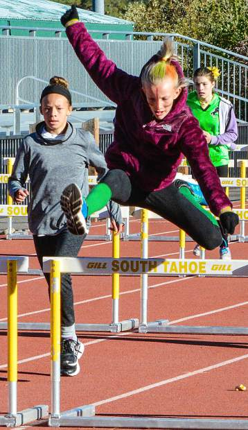 STMS sixth graders compete in the hurdles Oct. 7.