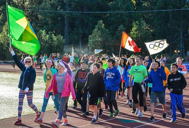 South Tahoe Middle School students take to the track for opening ceremonies during the 26th annual Sixth Grade Olympics on Oct. 7.