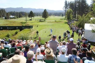 Fans watch a participant tee off at a previous American Century Golf Championship.