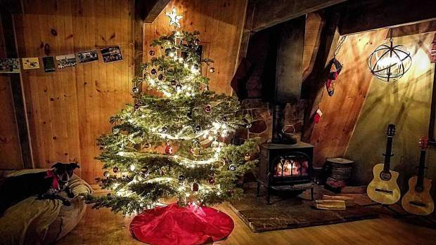 Happy Holidays from us to you! Home is where the heart is...and where your favorite dog is. We're so lucky to live in this cabin. The Hobbits Gambrel.