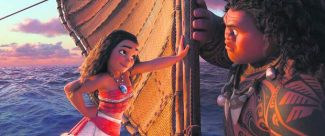 "This image, released by Disney, shows characters Maui, voiced by Dwayne Johnson, right, and Moana, voiced by Auli'i Cravalho, in a scene from the animated film ""Moana."""